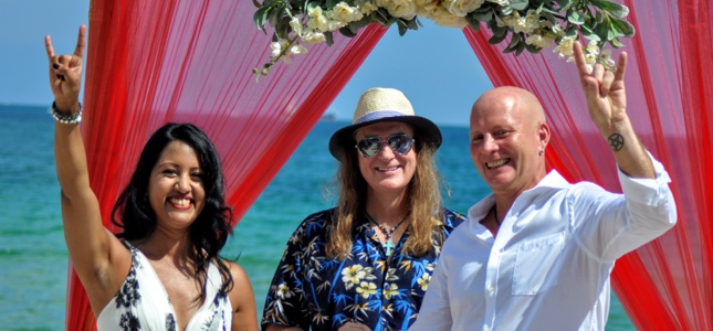 MEGADETH's David Ellefson Performs Wedding Ceremony For BraveWords' CEO And Bronzed Beauty On Florida Beach!
