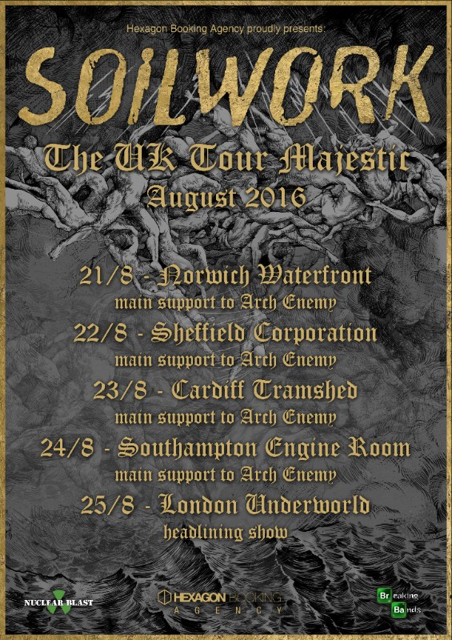 Soilwork to support arch enemy on upcoming uk shows for Soil uk tour 2016