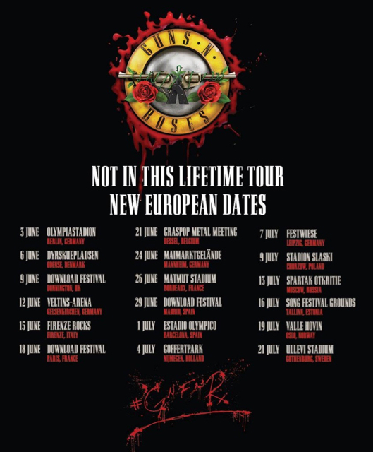 guns n roses not in this lifetime tour returning to europe in summer 2018. Black Bedroom Furniture Sets. Home Design Ideas