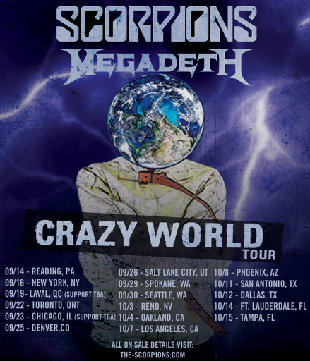 Image result for Scorpions/Megadeth tour photos