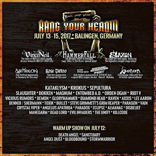 ROSE TATTOO Complete Lineup For 2017 Bang Your Head
