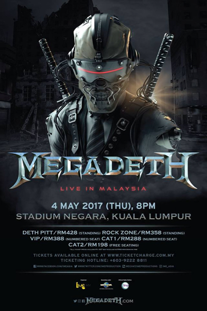 megadeth add date in malaysia to dystopia world tour 2017. Black Bedroom Furniture Sets. Home Design Ideas