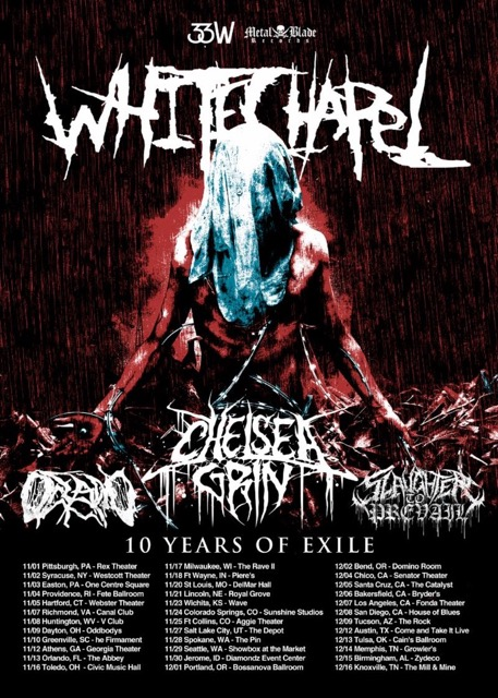 Whitechapel Announces Ten Years Of Exile Us Tour With