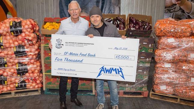 METALLICA Drummer LARS ULRICH Presents $5,000 Check To SF-Marin Food Bank; Video, Photos
