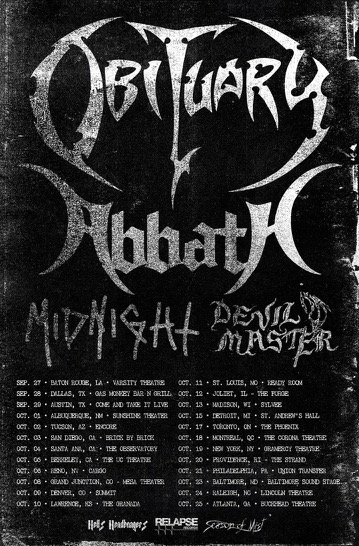 ABBATH Announce North American Tour With OBITUARY, MIDNIGHT