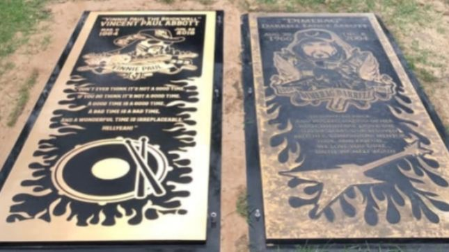 VINNIE PAUL's Grave Marker Installed Next To Brother DIMEBAG DARRELL's Grave Site