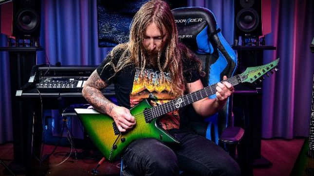 "THE HAUNTED Guitarist OLA ENGLUND's Solar Guitars Introduces New Type V and Type E Models - ""This Finish Is Very Much Inspired By The Dime Slime"""