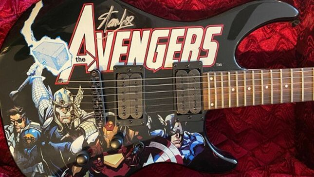 THE IRON MAIDENS Guitarist NIKKI STRINGFIELD Selling AVENGERS Guitar Signed By STAN LEE