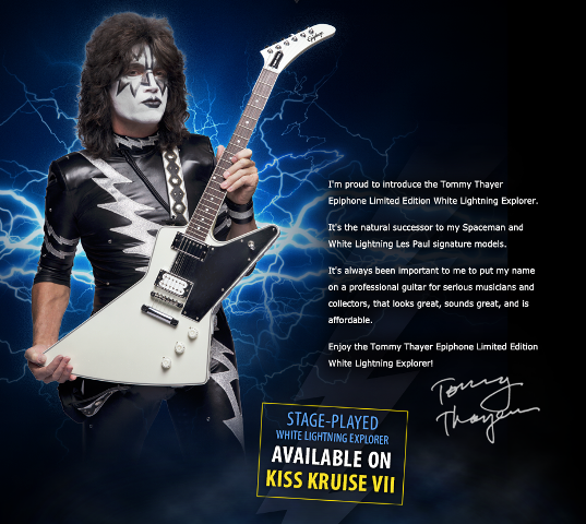 Kiss Tommy Thayer Makeup: Stage Played Epiphone Signature White